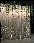 Гирлянда наружная Штора светодиодная, 300 LED, Белая, флеш с мерцанием, белый провод, 3х2м., фото 4