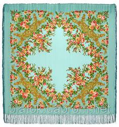 Изысканная 1315-1, павлопосадский платок шерстяной (с просновками) с шелковой бахромой