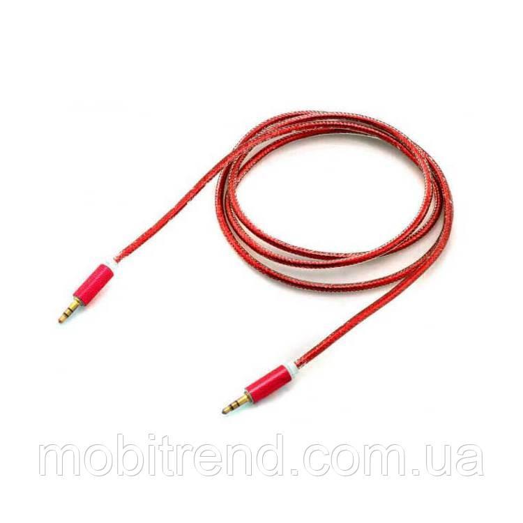 AUX кабель 3.5mm c металлическим штекером 1.5m Красный