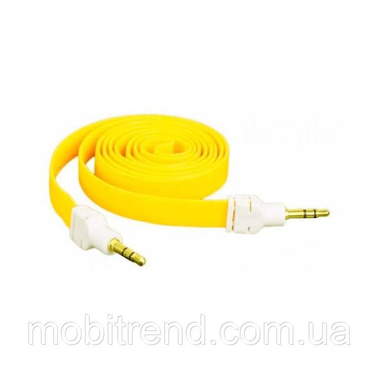 AUX кабель 3.5mm M/M плоский 2m Желтый