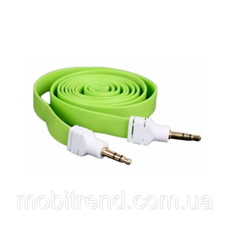 AUX кабель 3.5mm M/M плоский 2m Зеленый