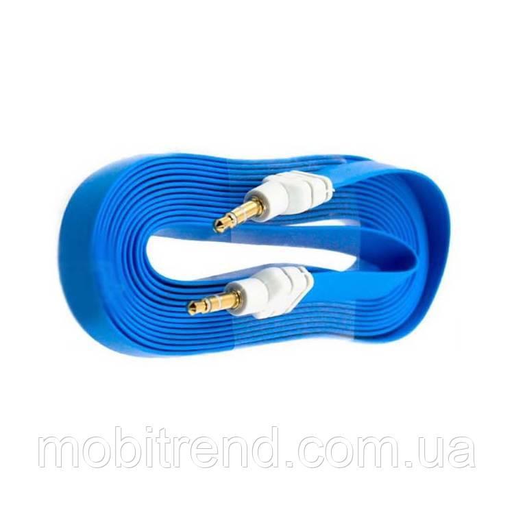 AUX кабель 3.5mm плоский 3m Голубой
