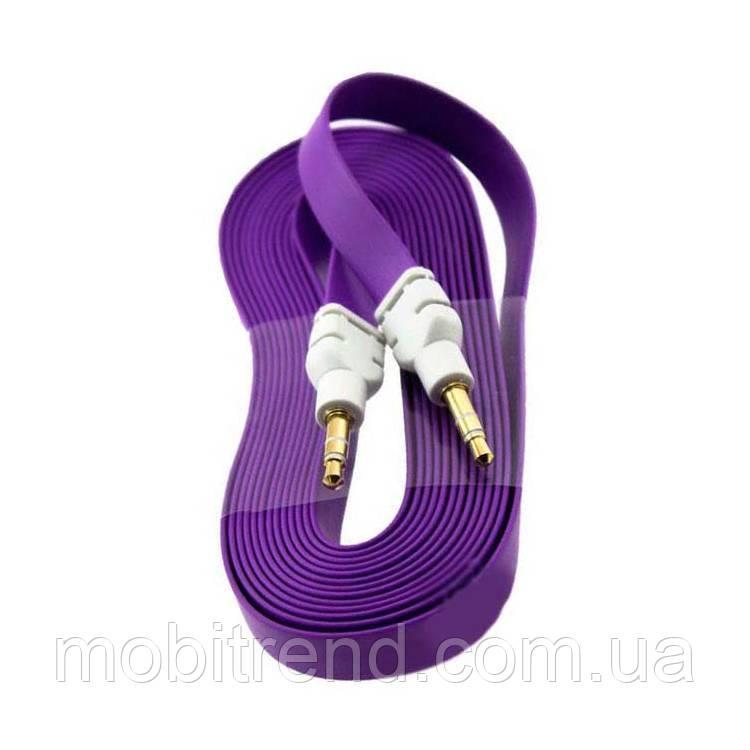 AUX кабель 3.5mm плоский 3m Фиолетовый