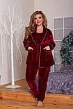 Велюровая пижама женская Тройка Размер 52 54 56 58 60 62 В наличии 4 цвета, фото 3
