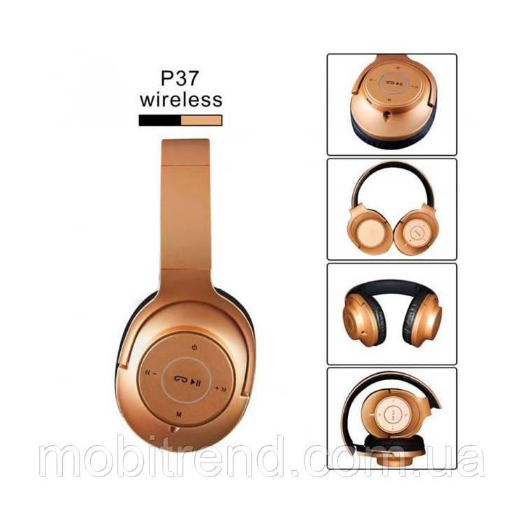 Bluetooth наушники с микрофоном P37 Золотой