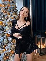Женский черный комбинезон вечерний из мелкой пайетки (р. 42-46) 71mko1587, фото 1
