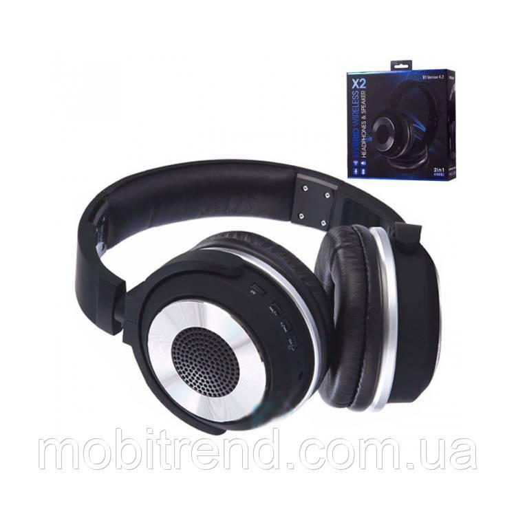Bluetooth наушники с микрофоном X2 SY-BT1611SP + колонка 2in1 Черный