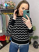 Вязаный двухцветный свитер в полоску с манжетами (р. 42-46) 33dmde1061, фото 1