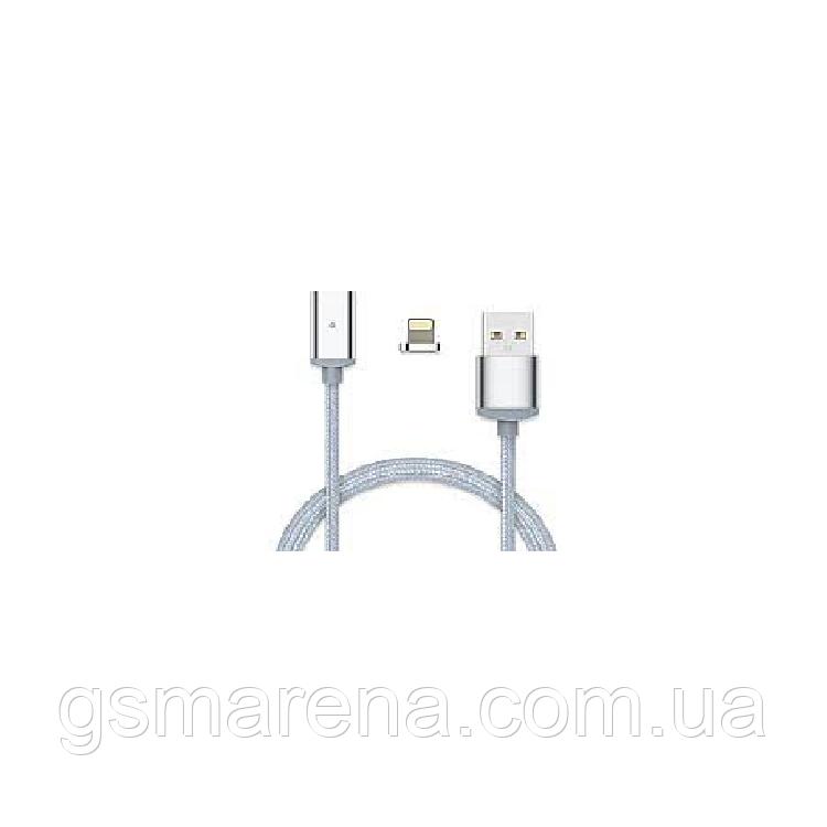 Кабель USB Apple магнитный металл Clip-On, 2.0 AF iPhone 5, 1m Серый