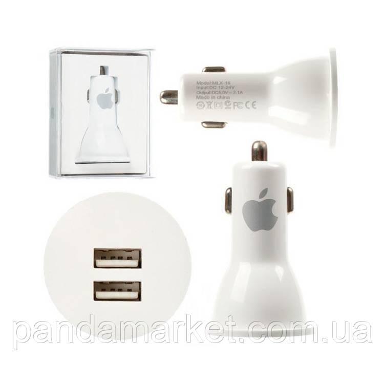 Автомобильное зарядное устройство пластик Apple 2USB 2.1A Белый