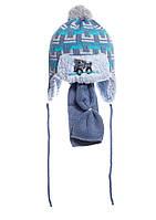 Интересная вязаная шапочка на меху с бумбоном и шарфик. голубой серый