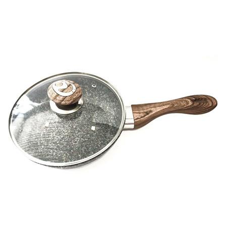 Сковородка Benson с крышкой и красно-бело-серым гранитным покрытием