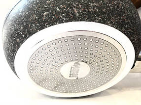 Сковородка Benson с крышкой и красно-бело-серым гранитным покрытием, фото 2