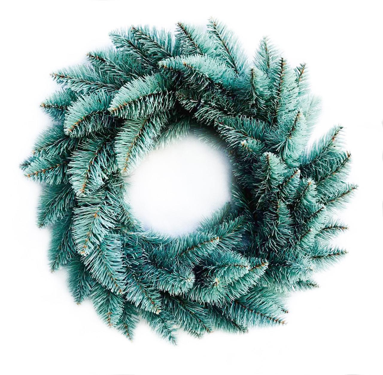 Вінок новорічний різдвяний Elegant з штучної хвої (блакитний, Ø 50 см)