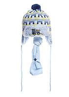 Интересная вязаная шапочка на меху с бумбоном и шарфик. голубой желтый