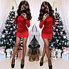 Мини платье с люрексом красное