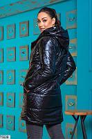 Черная удлиненная женская куртка батал 50 52 54 56