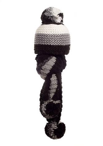 Стильная модная шапочка и шарфик с бумбонами Polina, Польша., фото 2