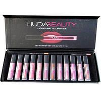Набор жидких помад Huda Beauty 12 помад + 2 карандаша,декоративная косметика худабьюти! Акция
