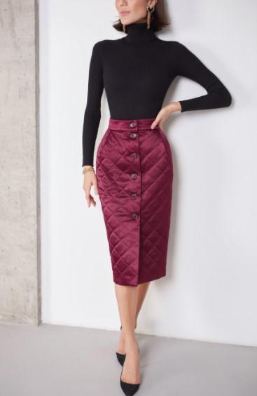 Стеганая женская юбка теплая бордо ( размер 40- 54 XS-XXL)