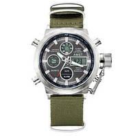 Часы Мужские AMST 3003 Silver-Black Green Военные, Армейские, тактические,    Тканевый ремешок-нейлон