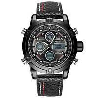 Часы Мужские AMST 3022 All Black (АМСТ) Военные, Армейские, тактические, Черный ремешок.