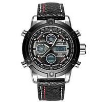 Часы Мужские AMST 3022 Silver-Black Fluted Военные, Армейские, тактические, Черный ремешок