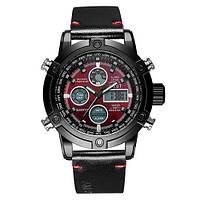 Часы Мужские AMST 3022P Black-Red Smooth Военные, Армейские, тактические, Черный ремешок