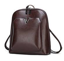 Классический женский городской рюкзак. Черный, коричневый стильный кожаный рюкзак.