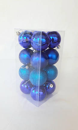 Новогодние елочные шары диаметр 6 см , в упаковке 16 штук различной текстуры, фото 2