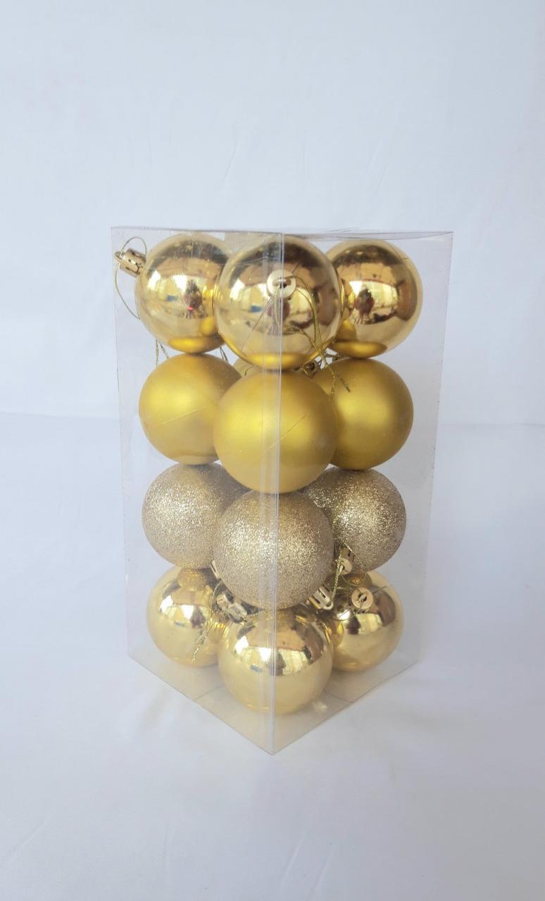 Новогодние елочные шары диаметр 6 см , в упаковке 16 штук различной текстуры