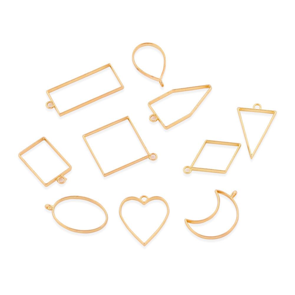 Набор форм (рамок, подвесок) для эпоксидной смолы, Золото, 10 шт.