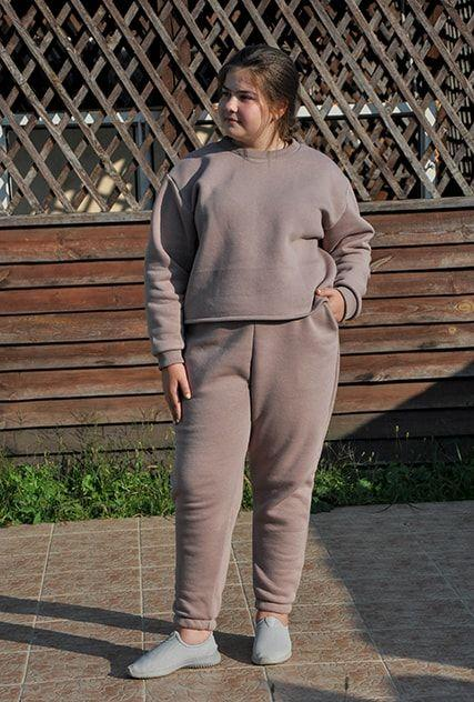 Жіночий теплий трикотажний костюм оверсайз кавовий (505)
