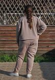 Жіночий теплий трикотажний костюм оверсайз кавовий (505), фото 2