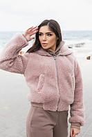 Женская розовая двусторонняя куртка с капюшоном на овчине