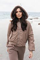 Женская коричневая двусторонняя куртка с капюшоном на овчине