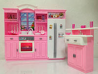 Мебель для кукол Gloria Глория 24016 Кухня Барби, холодильник, мойка, плита