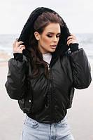 Женская черная двусторонняя куртка с капюшоном на овчине