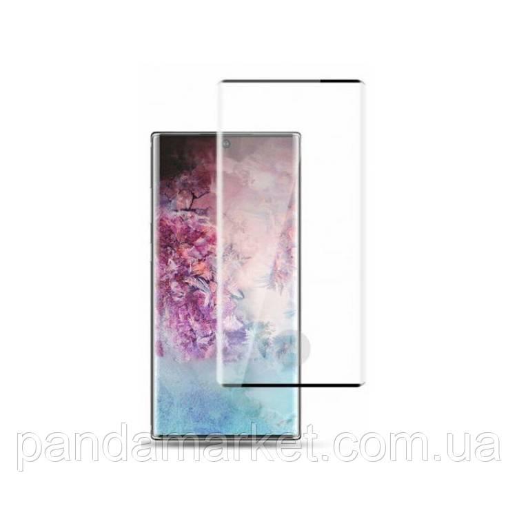 Защитное стекло 3D Samsung N975 Note 10 Plus (0.3mm, 3D, черное) обеспечивает работу сканера отпечатков