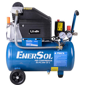 Компрессор электрический поршневой EnerSol ES-AC200-25-1, мощность 1,8 кВт, 200 л/мин, давление 8 бар, ресивер