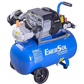 Компрессор электрический EnerSol ES-AC350-50-2,  50л., мощность 2,2 кВт, 50 л/мин, 8 бар, два цилиндра