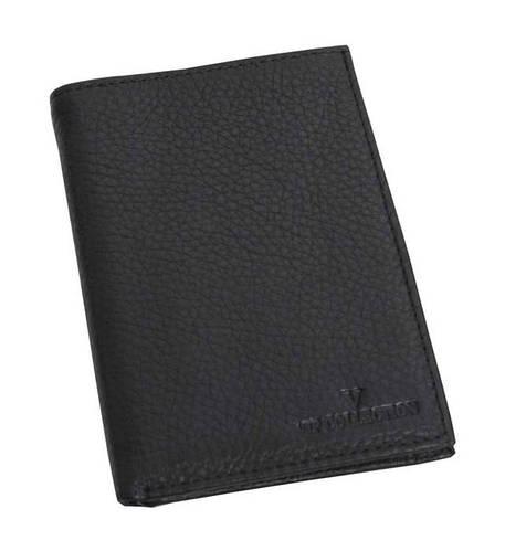 Мужской кожаный кошелек портмоне VIP COLLECTION Украина Boston 58A flat черный
