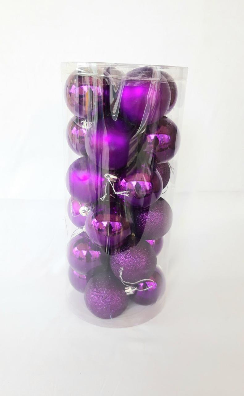 Новогодние елочные шары диаметр 6 см , 24 штуки в упаковке