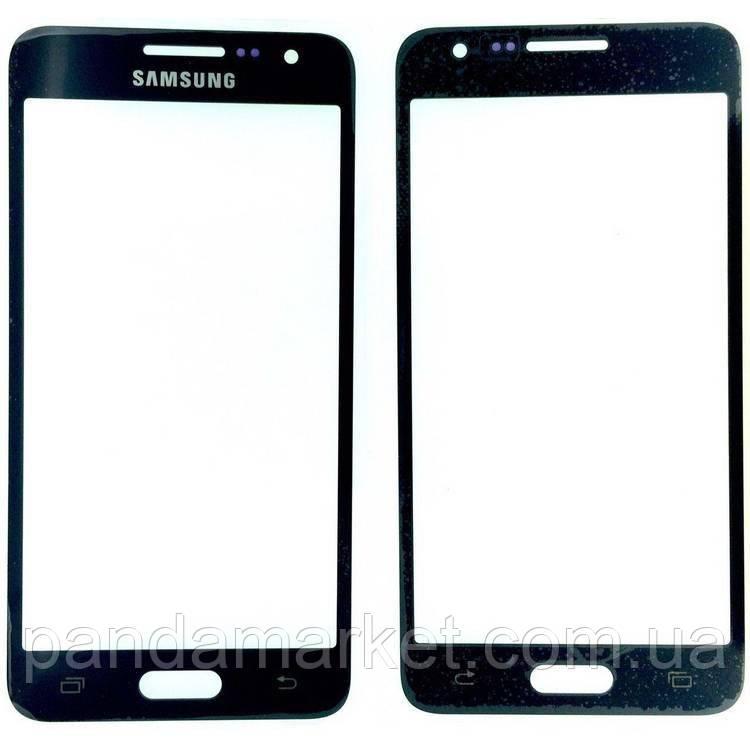 Стекло дисплея для переклейки Samsung A3 A300F Черный