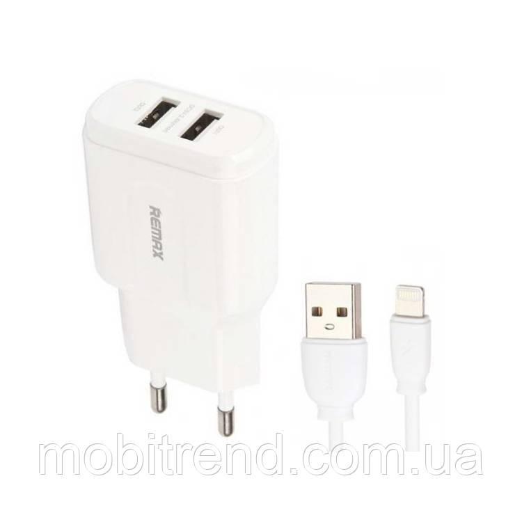 Зарядное устройство Remax RP-U22i 2.4A 2USB + кабель Lightning 220V Белый (евровилка)