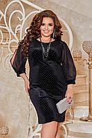 Платье женское нарядное новогоднее батал большие размеры велюр с камнями + шифон 50-52 54-56 58-60 62-64