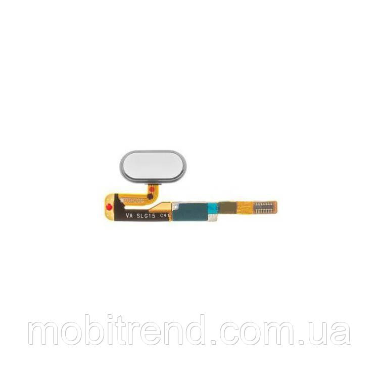 Шлейф Meizu Pro 6s центральная кнопка (Home) Белый