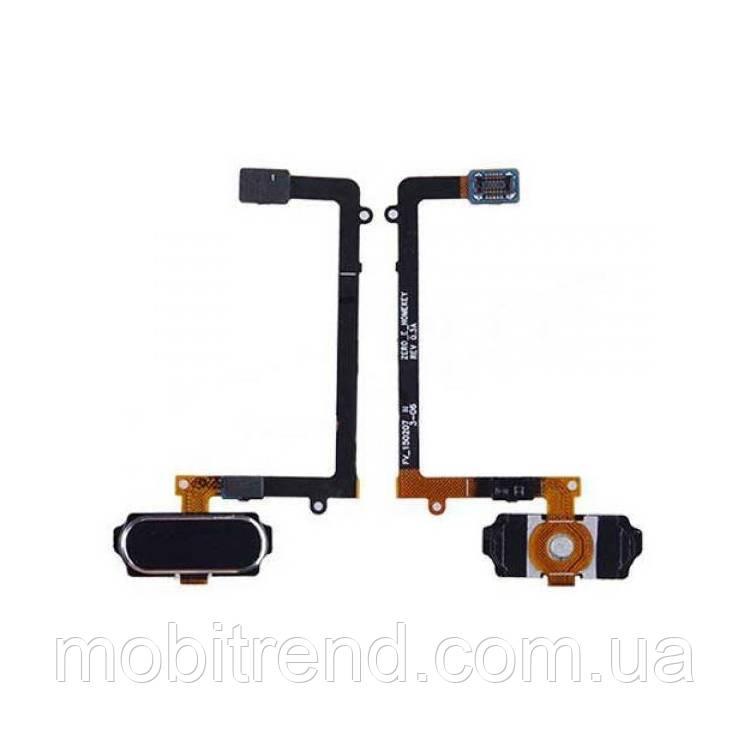 Шлейф Samsung G925F S6 Edge центральная кнопка (Home) Черный