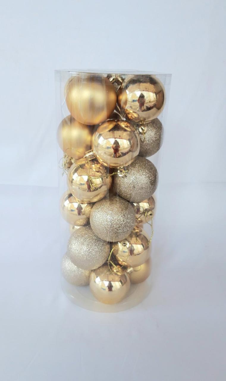 Новогодние елочные шары диаметр 8 см , 24 штуки в упаковке