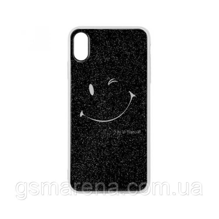 Чехол силиконовый Glue Case Smile shine iPhone X, XS Черный